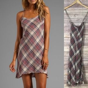 James Perse Bias Plaid Slip Dress